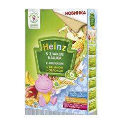 Каша Heinz В6 молочная 5 злаков с бананом и яблоком, 250 г.