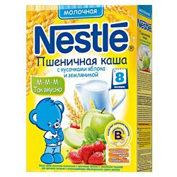 Каша Nestle пшеничная с кусочками яблока и земляникой