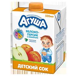 Сок Агуша яблоко-персик с мякотью
