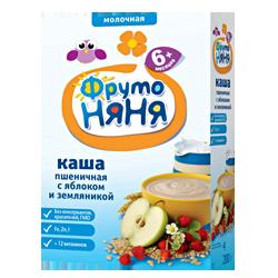 Каша Фрутоняня пшеничная молочная с яблоками и земляникой