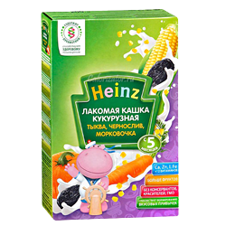 Каша Heinz молочная Лакомая кукурузная тыква, чернослив, морковочка, 200 г.