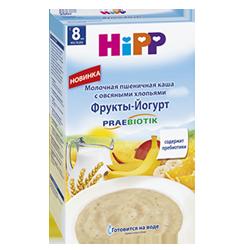 Каша Hipp молочная пшеничная с овсяными хлопьями Фрукты-Йогурт