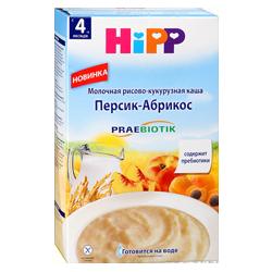 Каша Hipp молочная рисово-кукурузная Персик-абрикос, 250 г.